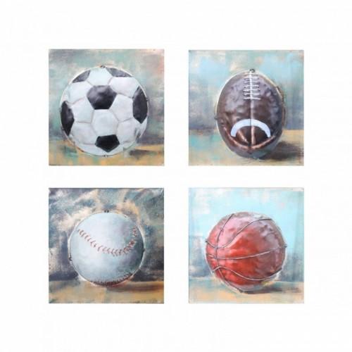Set of Four Sport Balls 3D Wall Art