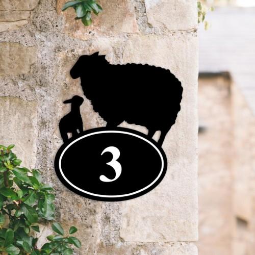 Bespoke Sheep & Lamb Iron House Number Sign in Situ
