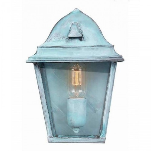 Traditional Brass Half Wall Lantern Finished in Verdigris