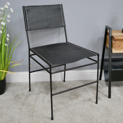 Simplistic Leather & Iron Dining Chair in Use in the Home