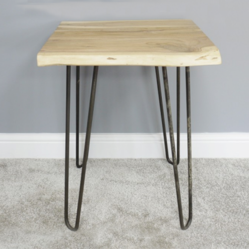 Simplistic Side Table Created From Wood & Iron