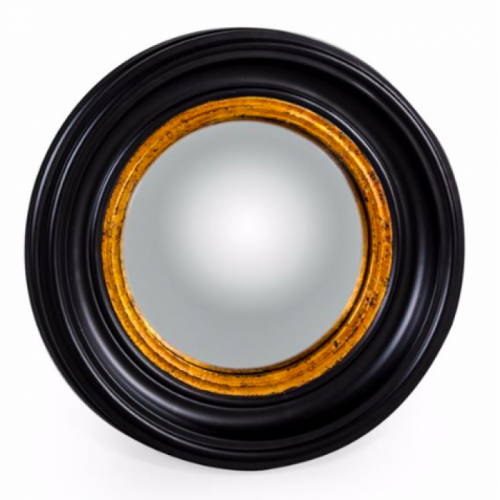 Small Round Mirror in a Black & Gold Finish