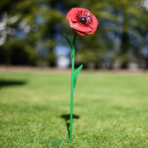Poppy Garden Ornament with Green Stem Spike