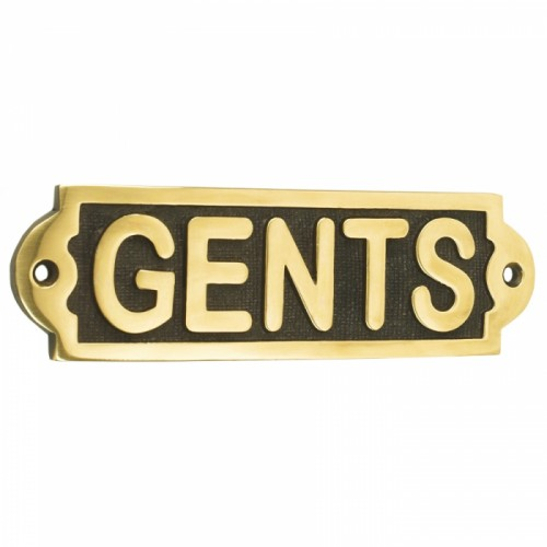 Solid Brass Gents Toilet Sign
