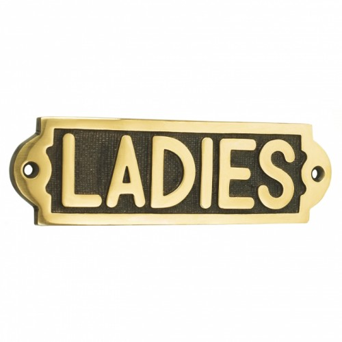 Solid Brass Ladies Bathroom Sign