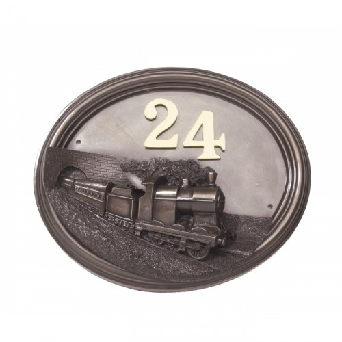 Bronze Effect steam train house number sign