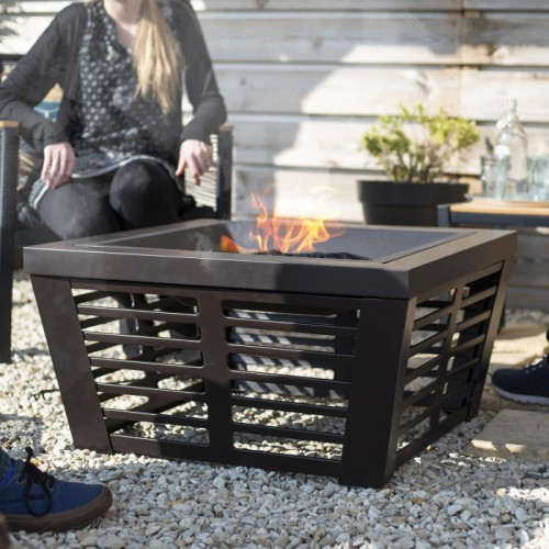 Steel Bronze Contemporary Fire Pit & Grill in Situ in the Garden