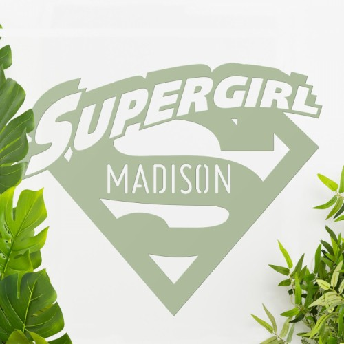 'Supergirl' Personalised Wall Art Among Plants in the House