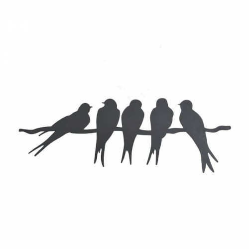 """""""Swallows on Wire"""" Silhouette Wall Art"""