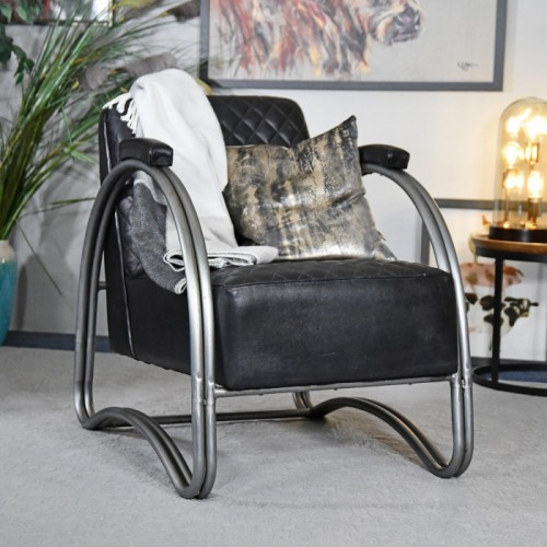 """""""The Bucknell"""" Iron & Black Leather in Situ in the House"""