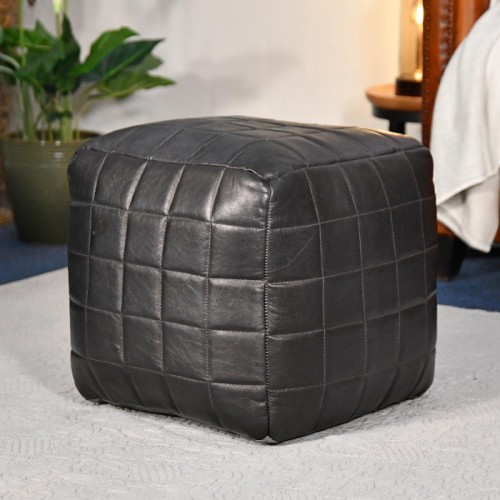 """The Cranborne"" Black Leather Square Pouffe in Situ"