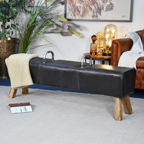 """The Stratford"" Iron, Mango Wood & Black Leather Gym Bench in a Modern Sitting Room"