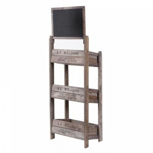 Back View of the Three Tier Crate Display Stand With Chalk Board
