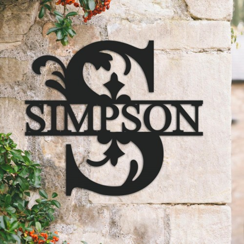 Traditional Personalised Monogram Name Sign on a Brick Wall