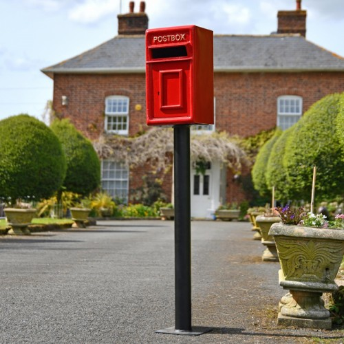 Traditional Red & Gold Post Box and Stand in Situ in Front of a House