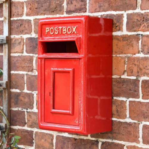 Traditional Red & Gold Wall Mounted Post Box in Situ