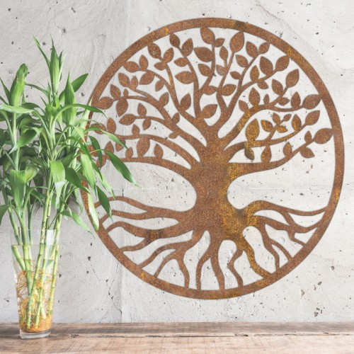 "Rustic Round ""Tree of Life"" Wall Art in Situ Inside"
