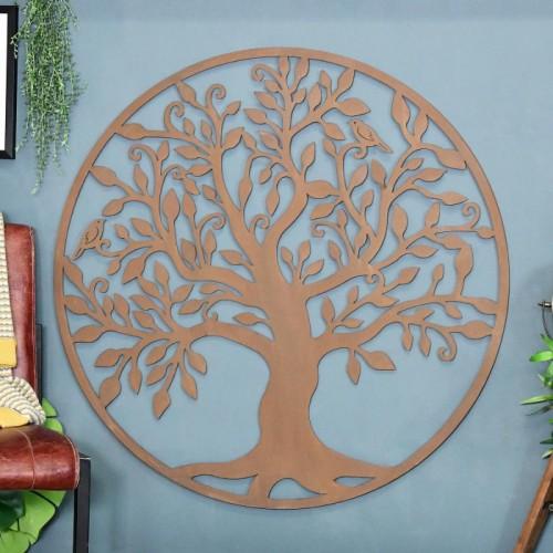 """Tree of Life"" Circular Wall Art in a Rustic Finish"