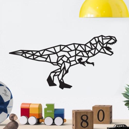 Geometric Iron T-Rex Wall Art Next to Children's Toys