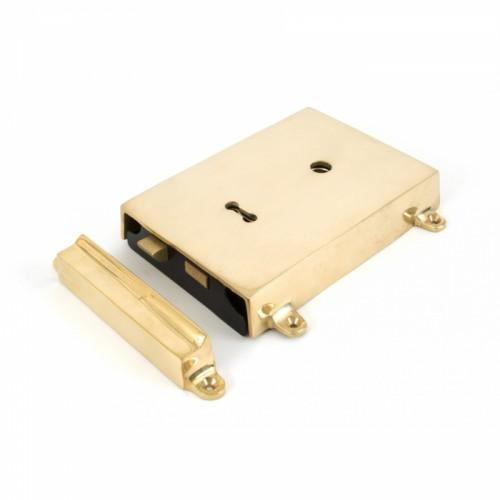 Polished Brass Reversible Rim Lock
