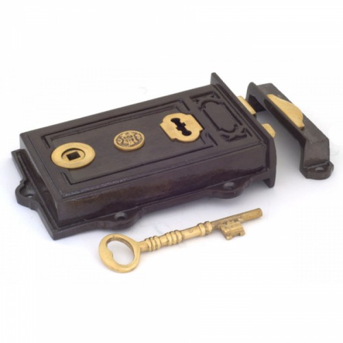 Victorian Style Reversible Iron Rim Lock Solid Brass Key