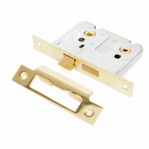 "Standard Bathroom Mortice Lock - Brass 3"""