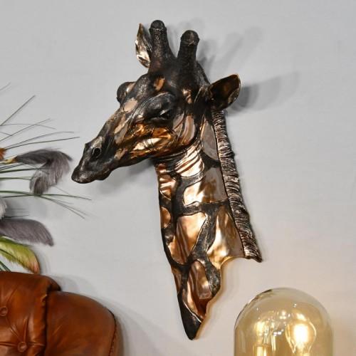 Copper Giraffe Bust Wall Art