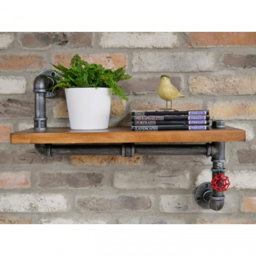 Chunky Wooden & Iron Pipe Shelf