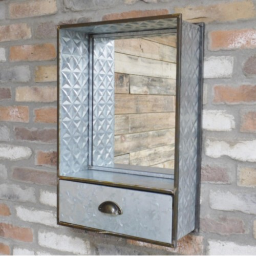 Industrial Mirror with Shelf and Drawer
