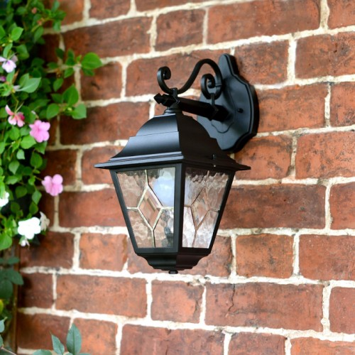 """Sheringham"" Traditional Top Fix Wall Lantern with Beveled Glass"