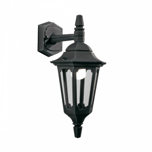 """Bridlington"" Standard Top Fix Black Wall Lantern"