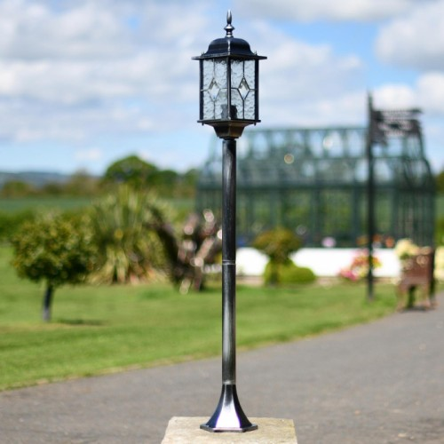 Vintage look Black and silver brushed driveway lamp post