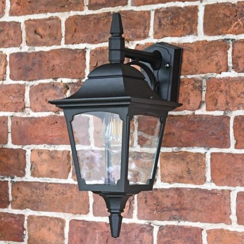 Traditional Black Top-Fix Wall Light