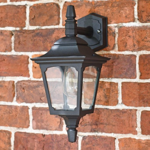 """Moorside"" Traditional Top Down Black Wall Lantern in Situ on a Brick Wall"