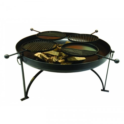 Simple Kadai Fire Bowl with Four Barbecue Swing Arms - 120cm