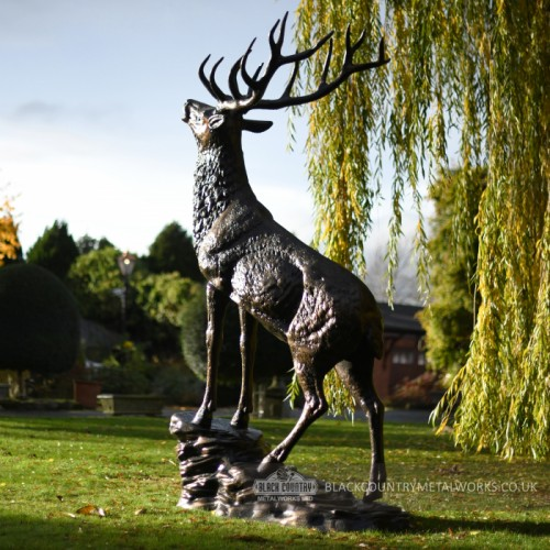 Beautiful Highland stag Sculpture in estate garden