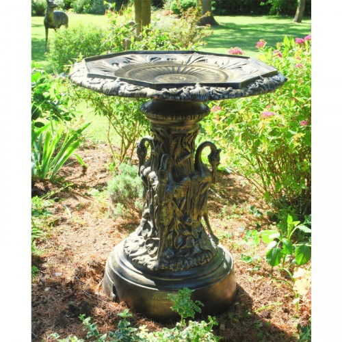 Swan Inspired Garden Bird Bath and Table