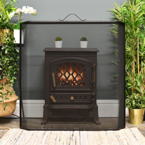 Traditional Black Spark Guard with Handle in Situ by the Fire Place