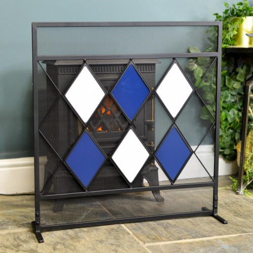 Blue & White Diamond Pattern Fire Screen in Situ by the Fireplace