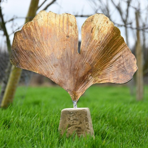 Gilded Ginkgo Garden Sculpture in a Rustic Finish