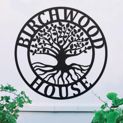 """""""Tree of Life"""" Circular Iron House Name Sign in Use Outside"""