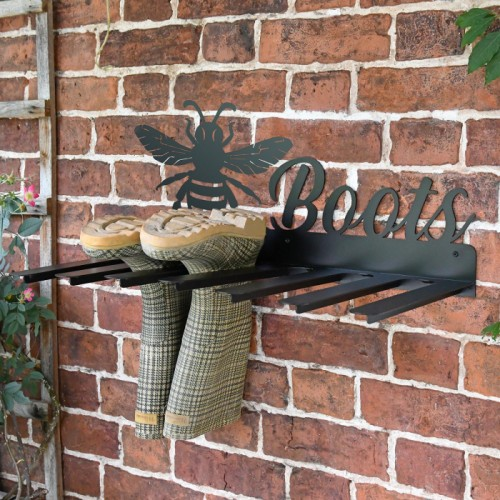 Wall Mounted Bumble Bee Iron Boot Holder in Situ Holding Wellys