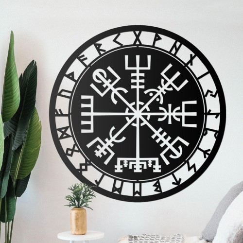 """Vegvisir"" Viking Compass Wall Art in the Living Room"