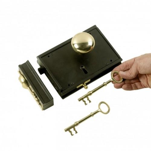 Cast Iron & Brass Large Rim Lock
