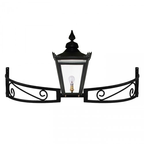 Black Victorian Lantern On a Bow Bracket