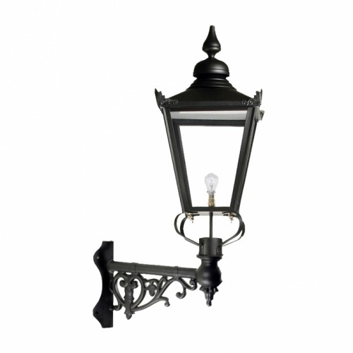 Large Black Victorian Wall Light On Corner Bracket