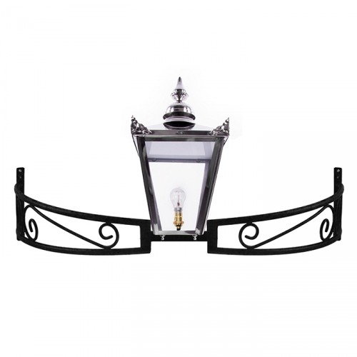 Stainless Steel Victorian Lantern On a Bow Bracket