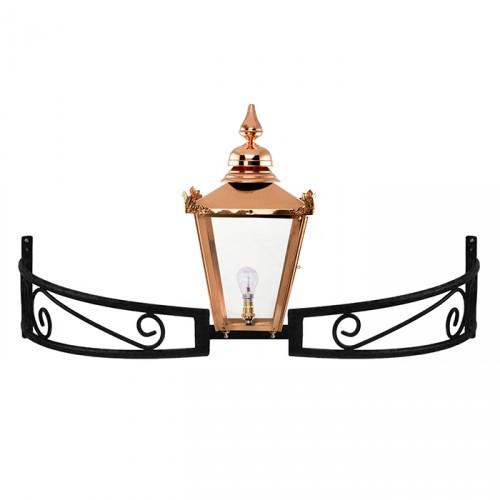 Copper Victorian Lantern On a Bow Bracket