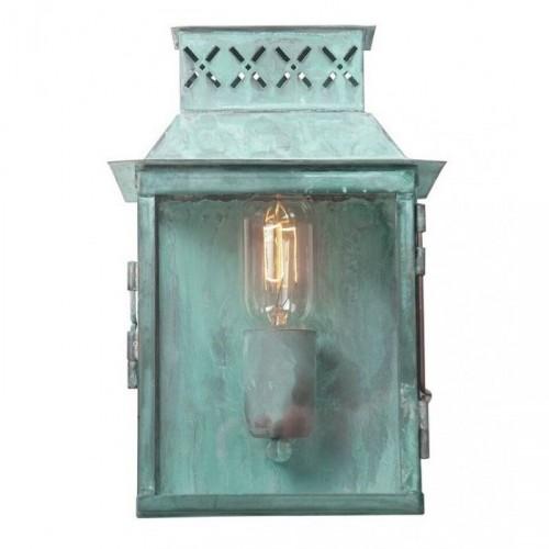 """Martellen Park"" Vintage Half Wall Lantern Finished In Verdigris"