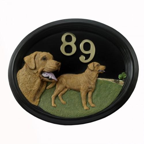 Walker Labrador House Number Sign